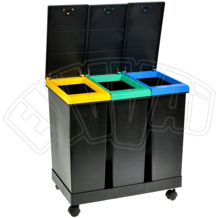 Kit 3 contenitori per raccolta differenziata pattumiera rifiuti con ruote smarty ebay - Contenitori raccolta differenziata per casa ...